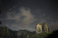 Ephemeral Star. Shooting star over the sky night in Tepoztlan, Mexico Stock Photos
