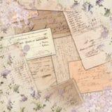 Ephemeras americana del vintage - modelo lamentable de la lila - diseño del papel del libro de recuerdos del acento de la acuarel imagen de archivo libre de regalías