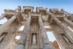Monuments of Ephesus old greek city in turkey. Ephesus was an ancient Greek city on the coast of Ionia, three kilometres southwest of present-day  royalty free stock image