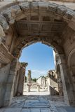 Monuments of Ephesus old greek city in turkey. Ephesus was an ancient Greek city on the coast of Ionia, three kilometres southwest of present-day  royalty free stock photo