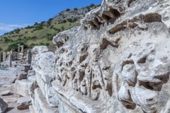Monuments of Ephesus old greek city in turkey. Ephesus was an ancient Greek city on the coast of Ionia, three kilometres southwest of present-day  stock images