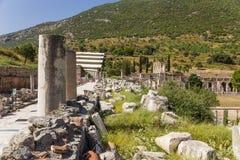 Ephesus,土耳其 尼罗和大理石街道Stoa  库存照片