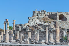 Ephesus. Street square in front of the Odeon in Ephesus (Efes) from Roman time in Turkey Royalty Free Stock Photo