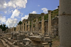 Ephesus ancient city. Ephesus which was established as a port, was used to be the most important commercial centre.nEphesus in the UNESCO World Heritage ListnThe Royalty Free Stock Images