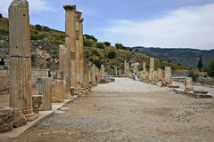 Ephesus ancient city. Ephesus which was established as a port, was used to be the most important commercial centre.nEphesus in the UNESCO World Heritage ListnThe Royalty Free Stock Image