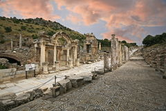 Ephesus ancient city. Ephesus which was established as a port, was used to be the most important commercial centre Royalty Free Stock Photos