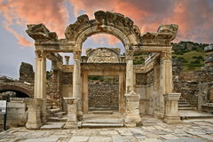 Ephesus ancient city. Ephesus which was established as a port, was used to be the most important commercial centre Stock Photo