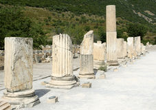Ephesus ancient greek ruins in Anatolia Turkey. Ancient ruins of Ephesus in Turkey Royalty Free Stock Photography