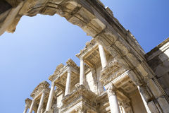 Ephesus. Ancient ruins in Ephesus Turkey, Celsus Library in Ephesus, Turkey Royalty Free Stock Images