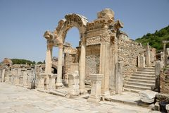 Ephesus. Ancient Ephesus temple of Hadrian arched doorway, Turkey Stock Photography
