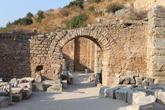 Ephesus antique ruins of the ancient city in Turkey Stock Photos