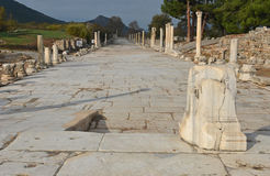 Ephesus. The Arcade, main road to the port of Ephesus in Turkey Royalty Free Stock Images