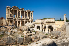 Ephesus, Celsus Library. The ruins of Ephesus, Celsus library, Turkey, polarizing filter applied Royalty Free Stock Image