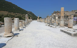 Ephesus Colonnade. The main road in the ruins of the ancient city of Ephesus, located in southwest Turkey Stock Image