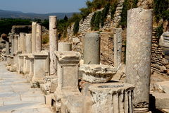 Ephesus Columns. Columns along the main street of the ancient city of Ephesus Stock Photos