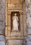 Ephesus library. Turkey Ephesus roman archaeological site marble statue in the facade of Celsius library Stock Photos