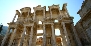 Ephesus library. Old ruin, famous library in Ephesus,Turkey royalty free stock photo