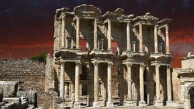 Ephesus Library, Turkey Travel, Sunrise, Sunset. Ephesus Library ancient ruins in Turkey at sunrise or sunset. Asia and the Middle East is a popular travel stock video footage