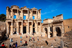 Ephesus, Library of Celsus and Gate of Augustus Stock Images