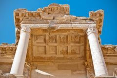Ephesus library details. Ancient roman architecture facade details of historical Julius Celsus library in Ephesus, Turkey Royalty Free Stock Photography