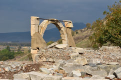 Ephesus. Reconstructed and reinforced arch over Polio's fountain in the ancient roman town of Ephesus Stock Image