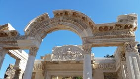 Ephesus Ruins of an ancient City the library. Stock Photo