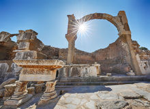 Ephesus. Ruins of the Pollio fountain Royalty Free Stock Photos