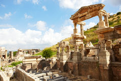 Ephesus in Turkey. Ruins of the Fountain of Traian in the city of Ephesus in modern day Turkey Stock Photos