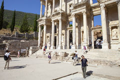 EPHESUS, TURKEY - AUG 8: Ruins of the library of Cicero Royalty Free Stock Image