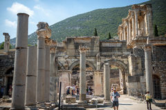 EPHESUS, TURKEY - AUG 01: visitors in Curetes street on August 0 Royalty Free Stock Images