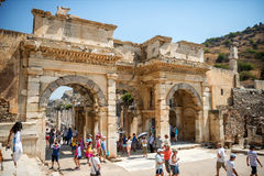 EPHESUS, TURKEY - AUG 01: visitors in Curetes street on August 0 Stock Photos