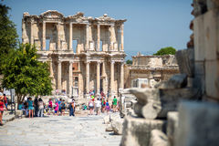 EPHESUS, TURKEY - AUG 01: visitors in Curetes street on August 0 Royalty Free Stock Photography