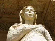 Ephesus, Turkey Library of Celsus female statue detail Royalty Free Stock Photo