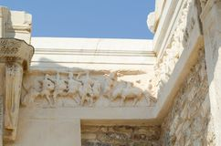 EPHESUS, TURKEY: Marble reliefs in Ephesus historical ancient ci royalty free stock photo