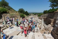 EPHESUS, TURKEY - MAY 24, 2015: Curetes Street is one of the three main streets of Ephesus. Stock Photos