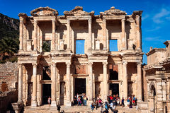 Ephesus. TURKEY - SEPTEMBER 30, 2014: Front view of the Library of Celsus in Efes Stock Photos