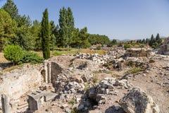 Ephesus Turkiet Arkeologiska utgrävningar av den forntida staden Royaltyfria Bilder