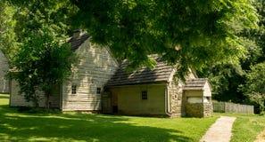 Ephrata klosterhistoriska byggnader i Lancaster County, Pennsylvania Arkivfoto