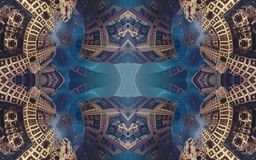 Epic abstract fantastic poster or background. Futuristic view from inside of the fractal. Pattern in form of arrows. royalty free stock photography