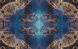Epic abstract fantastic poster or background. Futuristic view from inside of the fractal. Pattern in form of arrows. royalty free stock images