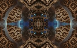 Epic abstract fantastic poster or background. Futuristic view from inside of the fractal. Pattern in form of arrows. stock photo