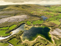 Epic Aerial view of the beautiful Irish countryside nature. Royalty Free Stock Images