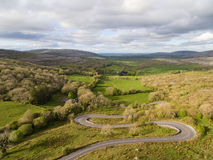 Epic Aerial view of the beautiful Irish countryside nature. Royalty Free Stock Photo
