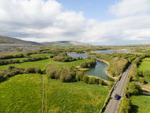 Epic Aerial view of the beautiful Irish countryside nature. Royalty Free Stock Photos
