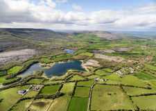Epic Aerial view of the beautiful Irish countryside nature. Epic Aerial view of the beautiful Irish countryside nature landscape from the Burren national park Stock Image