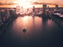 Epic aerial view of Lake Eola Park. In Orlando, Florida Stock Images