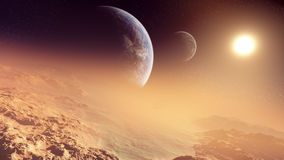 Epic Alien Planet Sunset. Majestic sunset in a distant planet with two moons on its horizon Stock Photo