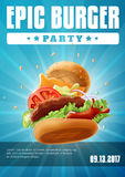 Epic Burger Party - poster flyer template Stock Photography