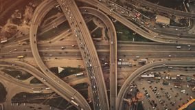 Epic city highway car traffic system aerial view. Aerial top view of epic city highway car traffic system. Busy road junction street route vehicle motion stock video