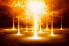Epic doomsday background - end of world, judgment day. Forces of evil destroy humanity Royalty Free Stock Image